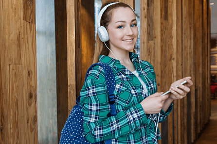 student listening to classic music