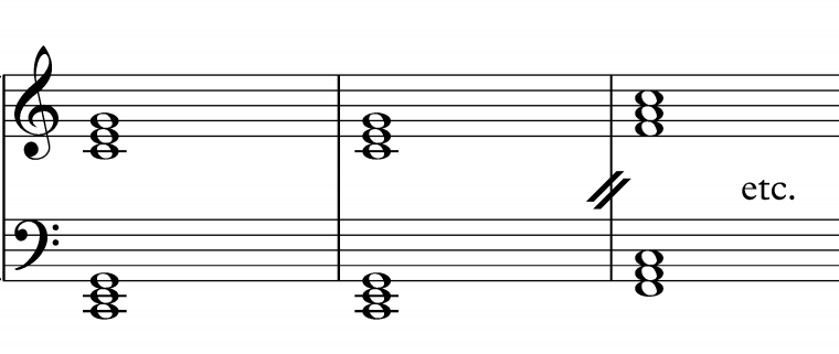 triads in root position 12 bar blues