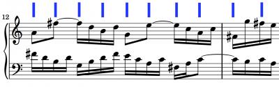 musical score Bach Invention No. 13 metronome