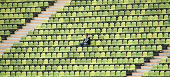 Alone in stadium
