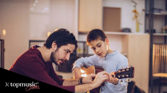teaching guitar image with Michael