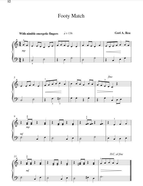 footy march geri rea piano